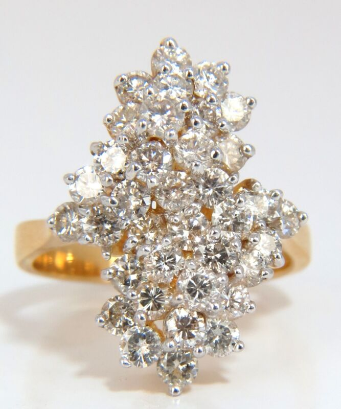 █$5000 1.80ct ladies raised double peaked cluster cocktail diamonds ring 14kt