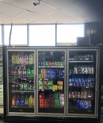 3 Door Cooler Lighted Commercial Refrigerator Wshelving