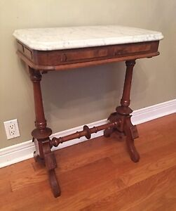 Victorian Walnut Console Side Table - Marble Top - 1890's
