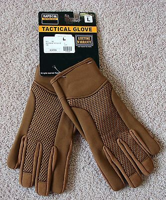 NEW RAPDOM T28 RAPID DOMINANCE BREATHABLE TACTICLE NEOPRENE GLOVES LARGE BROWN