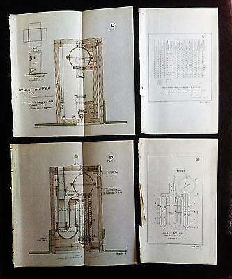 1904 4 US Military Sketch Diagrams Battery Capron Fort Moultrie SC Blast Meter