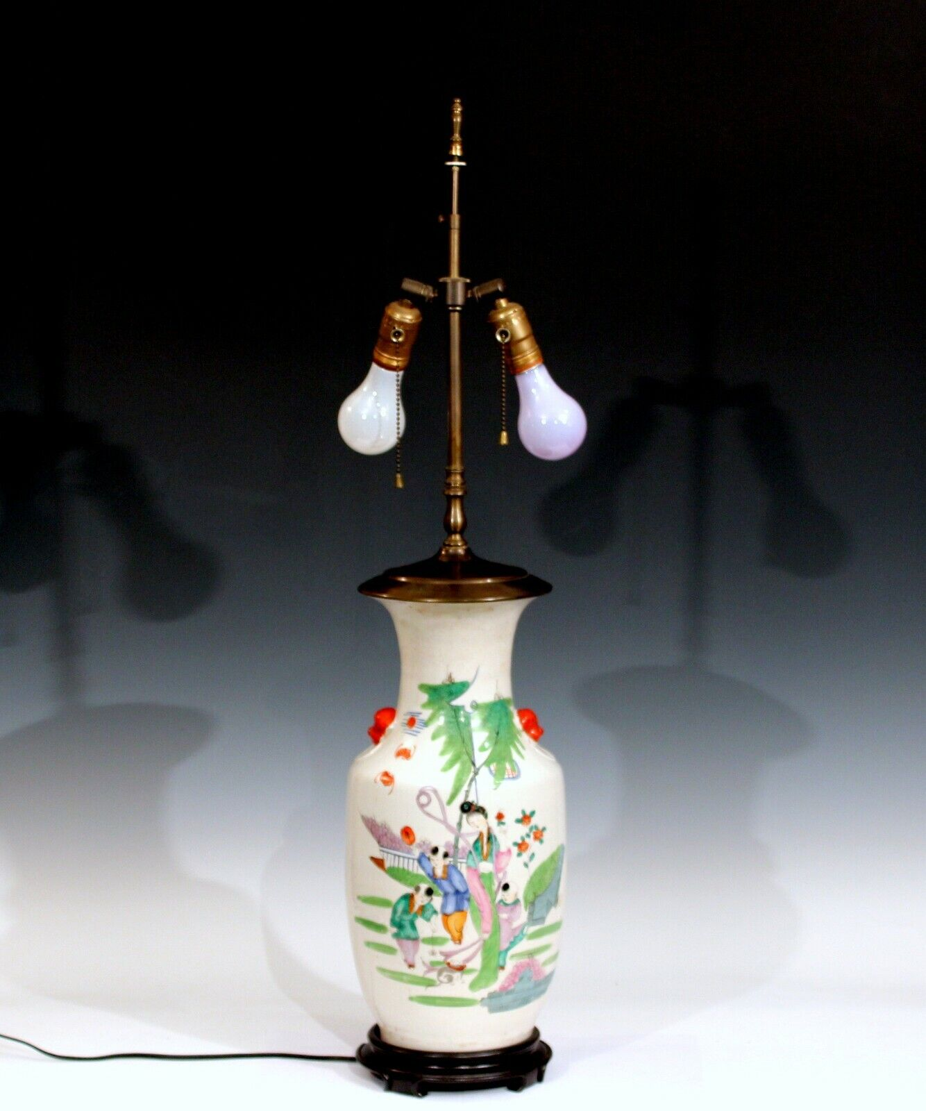 Antique Chinese Porcelain Vase Vintage Lamp Large Old Qing Children Cat Figures