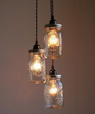 Mason jar lightebay 2 3 pcs ball brand mason jar pendant lights wide mouth quart size mozeypictures Image collections