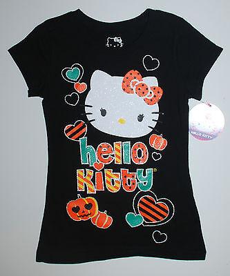 Halloween~T-Shirt~USA~116-122~Hello Kitty~schwarz~Glitter~Katze~Kürbis~Mädchen~w
