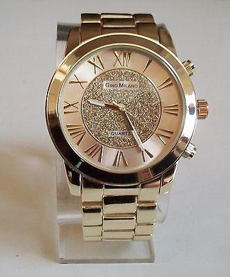 (Hip hop Style  glitter dial  clubbing gold finish Gino Milano fashion watch)