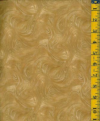 Spellbound Swirling Metallic by P&B Textiles  BTY cotton quilt fabric Golden Tan
