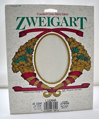 "Zweigart Lugana 25 Ct Cross Stitch Aida Fabric Antique White 14""x18"" New Old Stk"