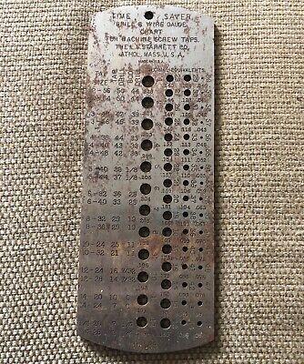 Vintage Starrett No. 185 Metal Time Saver Drill Wire Tap Gauge Chart