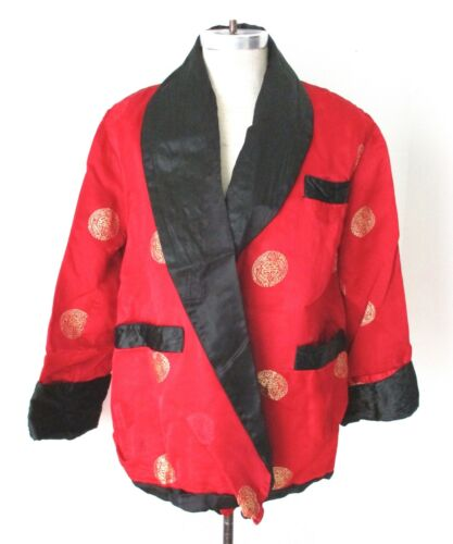 Vtg 60s red satin smoking jacket short robe gold medallion brocade pockets 48