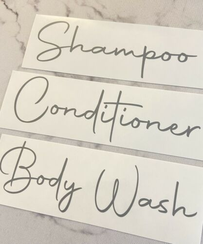 Set Of 3 Grey Shampoo, Conditioner And Body Wash Decal Stickers Vinyl 1