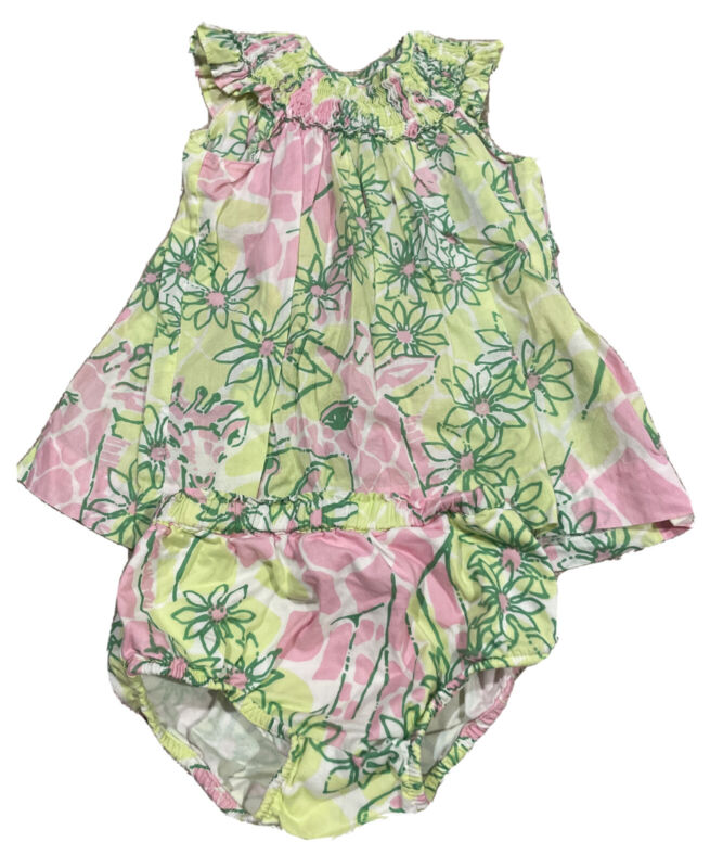 Baby Girls Lilly Pulitzer Pink Sleeveless Dress Set Bloomers Size 6-12 Months