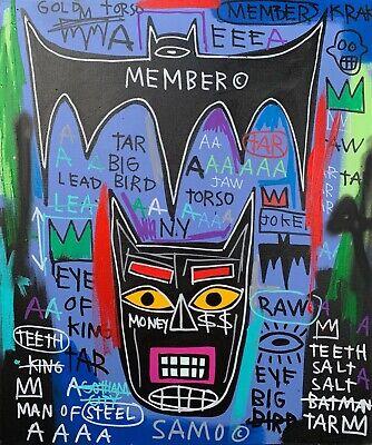 "Rare Jean Michel Basquiat Original Vintage Painting ""Batman"""