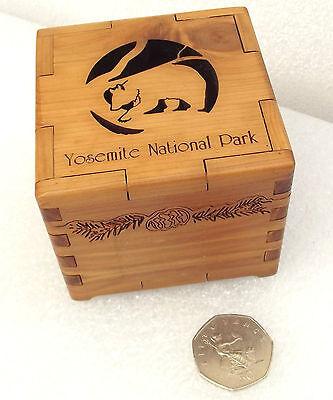 Trinket box aromatic cedar wood Yosemite National Park BLACK BEAR cutaway lid