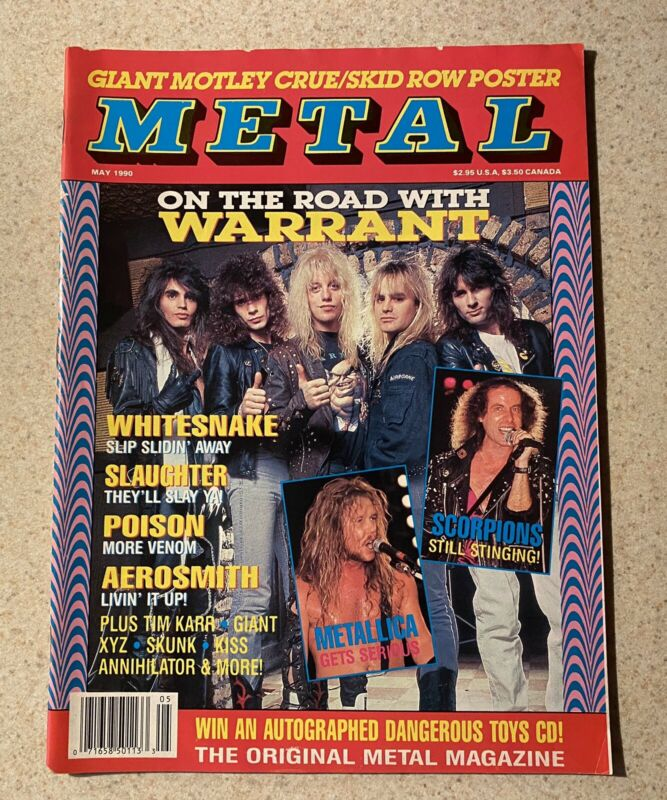Metal magazine; May 1990; Warrant, Skid Row, Mötley Crüe (excellent condition!)