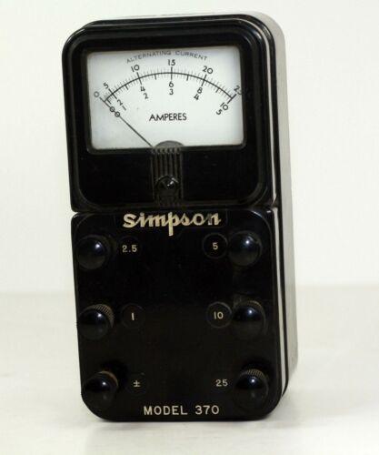 Vintage Simpson Model 370 Analog Amp Meter - Tested