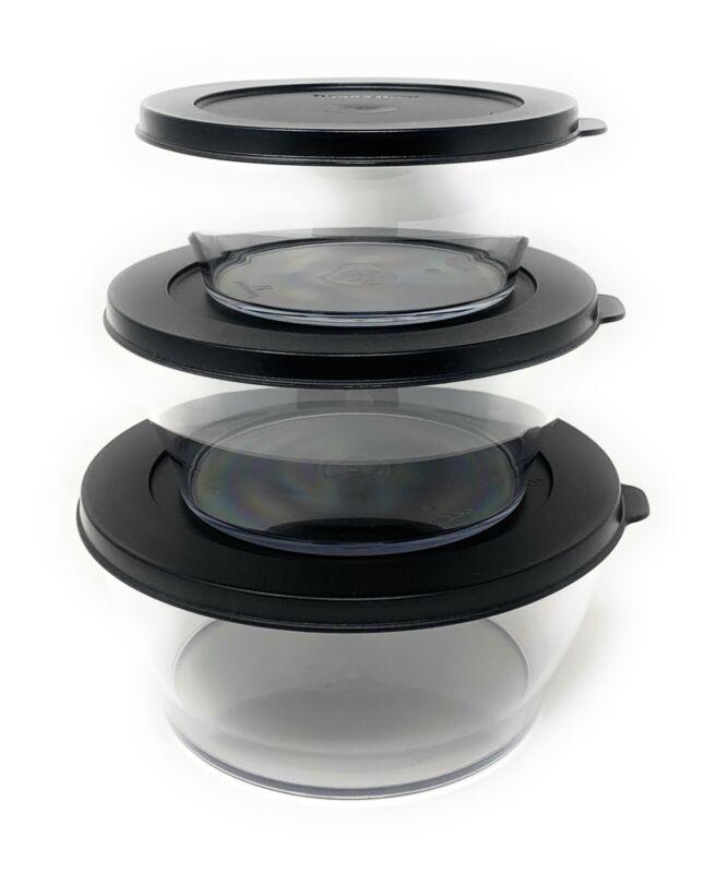 Tupperware Century Bowls Set of 3 in Black NEW