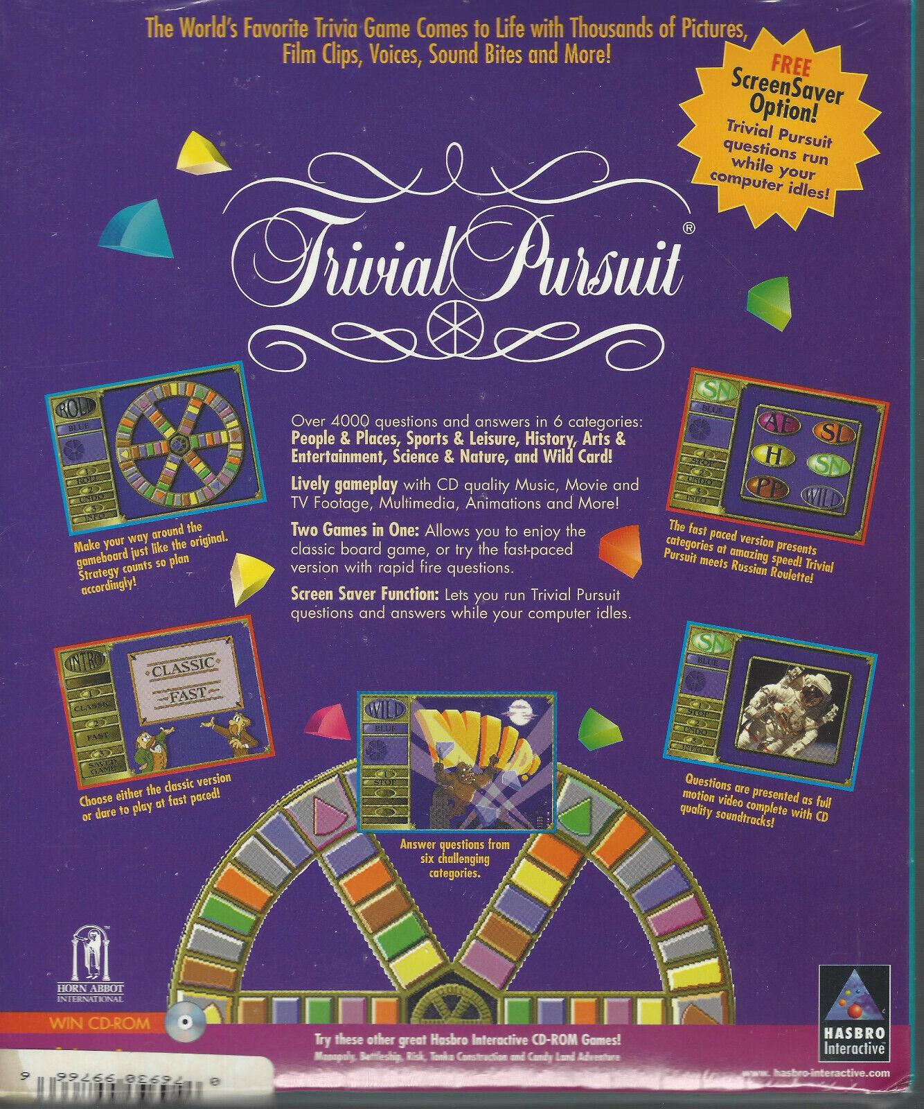 Rare Vintage Trivial Pursuit PC Game Orig. Big Box Windows Hasbro NEW/SEALED - $9.75