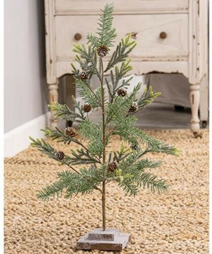 Vintage Chic Glitter Frosted PineCone Twig CHRISTMAS TREE Country Home Table Top