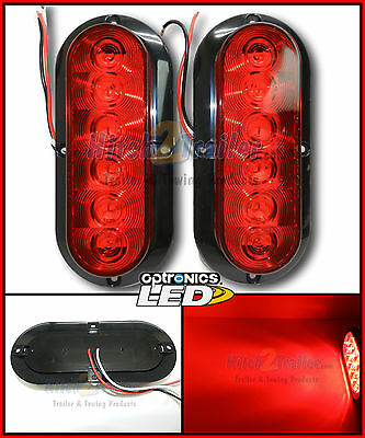 2  Trailer truck Red LED Surface Mount 6 Oval Stop Turn Tail Light Sealed FLEET