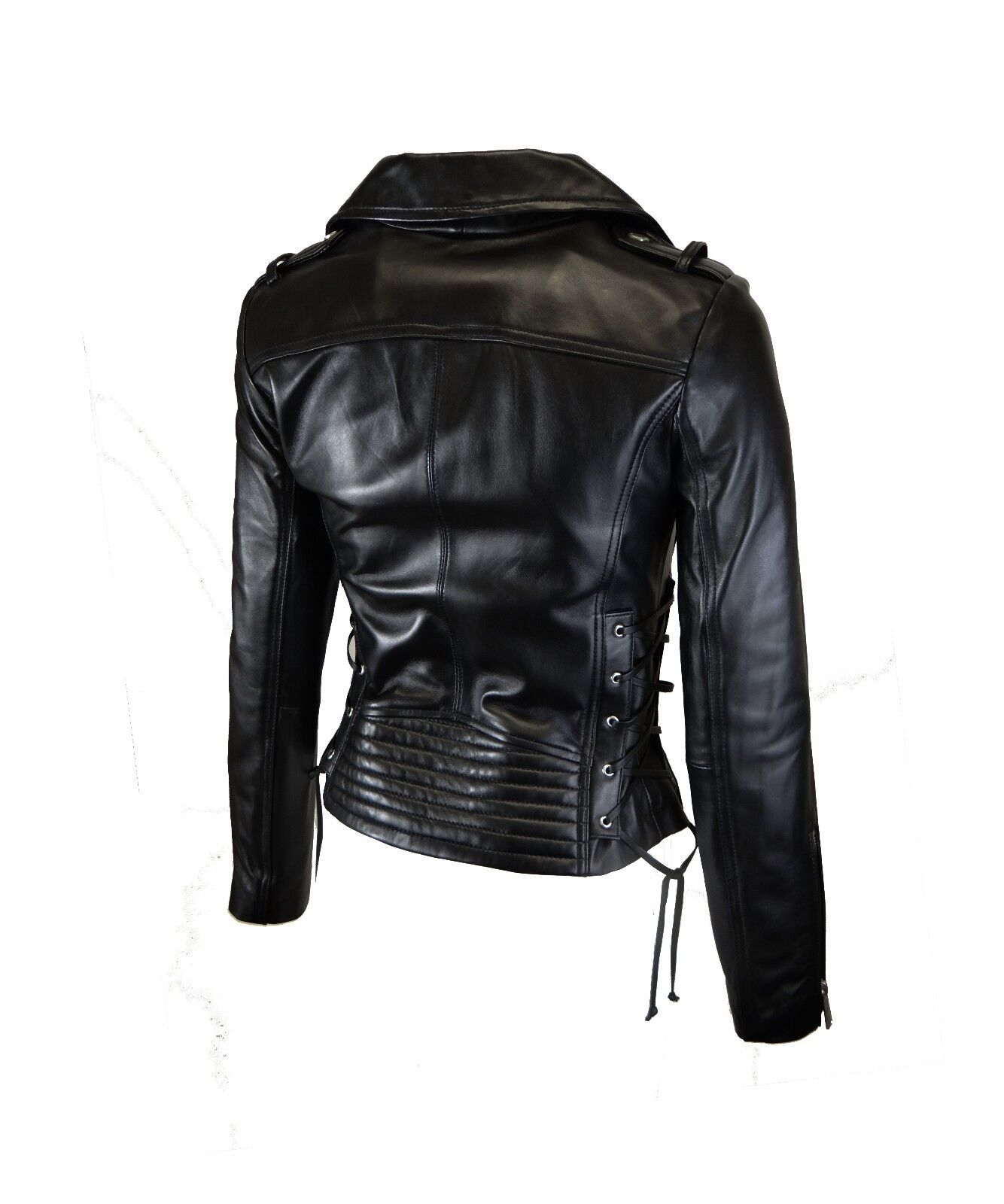 548ed12898be Details about BCBGeneration Women s Moto Leather Jacket with Lace-up Sides