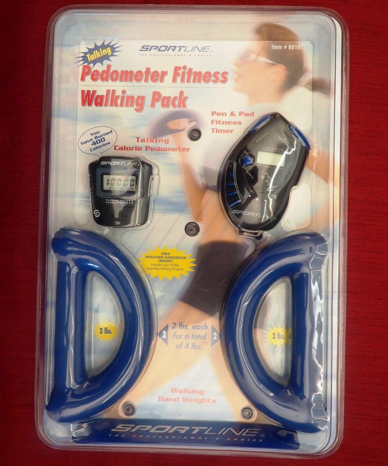 NEW-Sportline Fitness Walking Pack,Hand Weights 2-4lb,Talkin