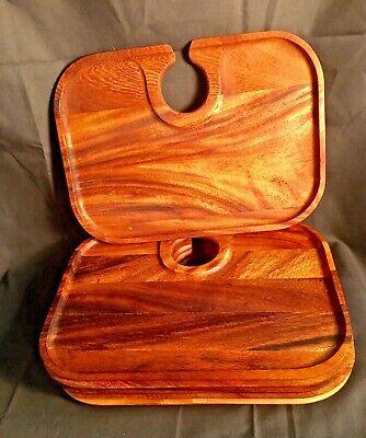 Set of 6 IRONWOOD GOURMET Acacia Canape Trays Wine Glass Snack Holder