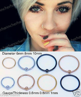Thin Silver Nose Ring Hoop Surgical Steel Ear Small Cartilage Tragus Piercing