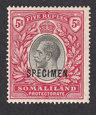 British Somaliland 1912 5r black/scarlet Specimen mint hinged