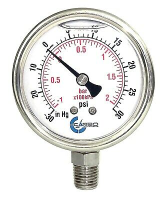2.5 Liquid Filled Compound Vacuum Gauge 30 Hg30 Psi Stainless Case Lower Mnt