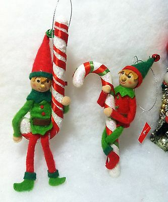 Felt Elf on candy cane Christmas tree Ornaments Elves