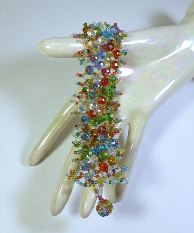 Vintage, Seed Bead, Bracelet, Multicolor, Cluster