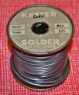 1 Vintage Kester 4060 66 Rosin Core Solder .125 4lb 7oz