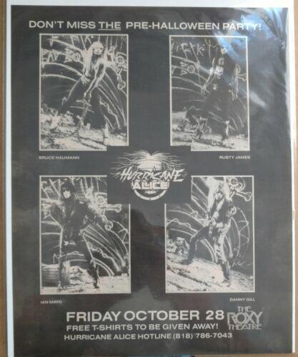 "Hericane Alice The Roxy October 28 1988 Original Advertisement 10.5""x13"""