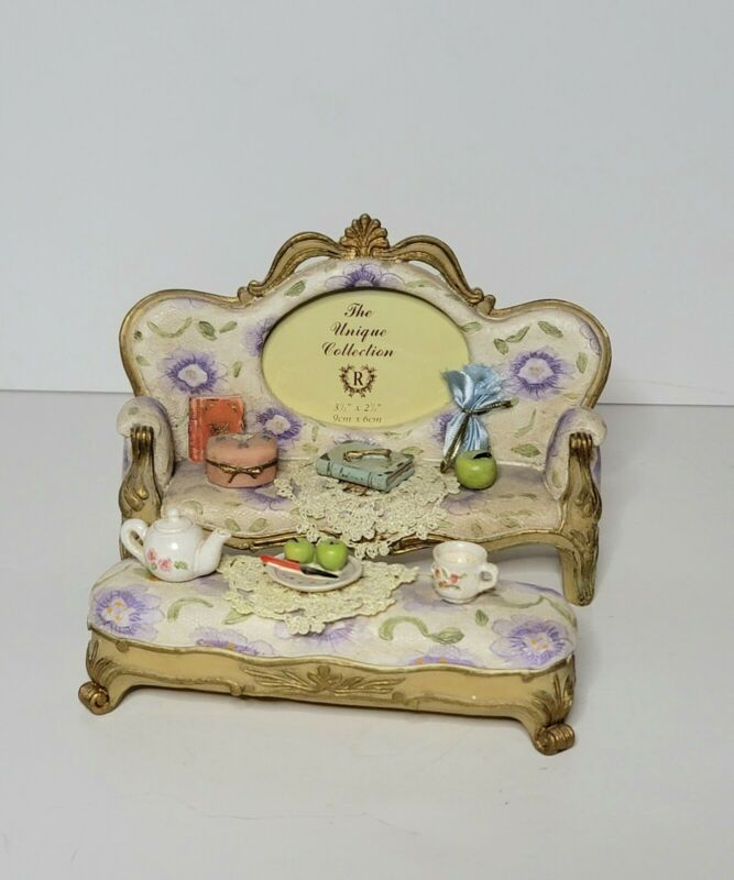 Unique Collection Picture Frame Shabby Chic Couch Footstool Trinket 2.5 x 3.5