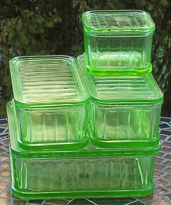 Antique Vaseline/Uranium/Depression Glass Stacking Refrigerator Dishes w/Lids
