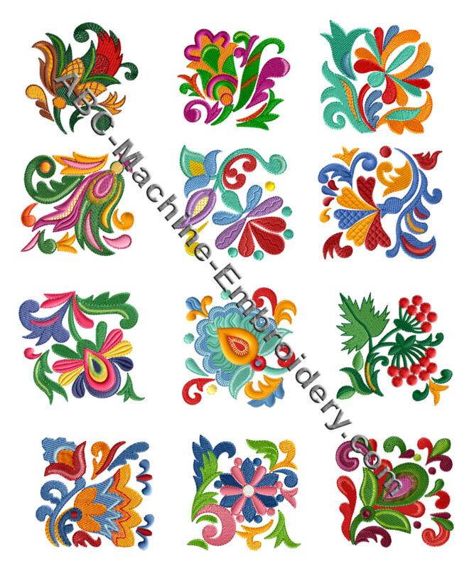 "ABC Designs Folk Quilt Blocks  Machine Embroidery Designs SET 4""x4"" hoop"