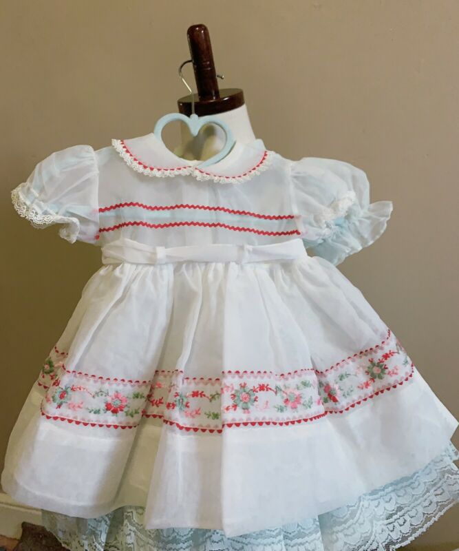 Vintage baby girls embroidered sheer dress