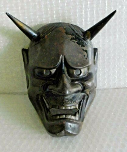 jAPANESE VINTAGE HANNYA NOH DEMON MASK IRON METAL ARTISAN SEAL EMBOSSED neocurio