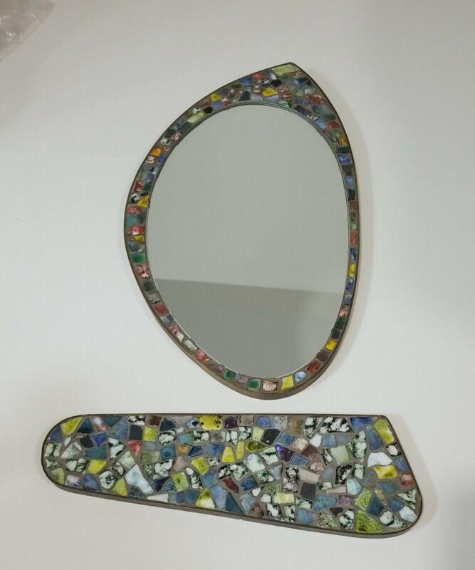 Vintage Italian Mosaic Glass Wall Mirror and Shelf Retro Atomic Shape