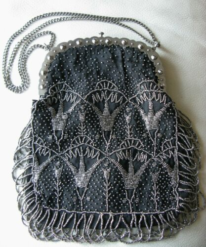Antique 1890 Frame Black Silk French Silver Steel Micro Double Fringe Bead Purse