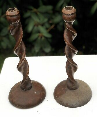 Antique Wooden Spiral Swirl Candle Sticks Stands Holders