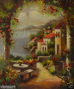 Oil-Painting-On-Stretched-Canvas-20-x-24-Floral-Mediterranean-View