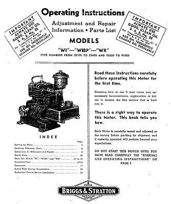 Briggs Stratton Wi Wibp Wr Engine Adjustments Repair Parts List Manual