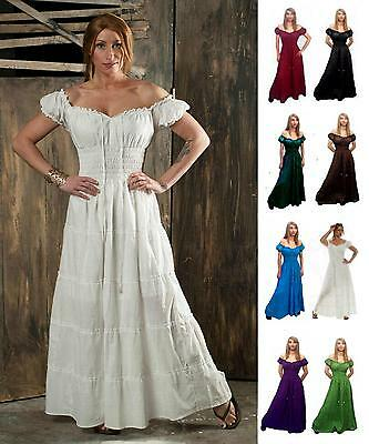 RENAISSANCE DRESS MEDIEVAL COTTON COSTUME PIRATE PEASANT WENCH VICTORIAN - Medieval Ladies Costumes