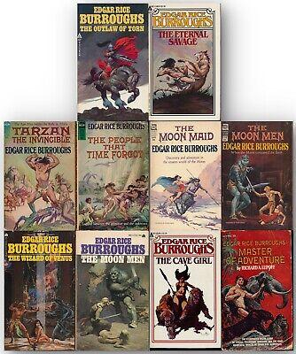EDGAR RICE BURROUGHS Ace Paperbacks 10 Vtg FANTASY Tarzan 1970s MOON MEN 127015 - $50.00
