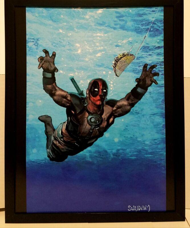 Deadpool Nirvana homage by Arthur Suydam 11x14 FRAMED Marvel Comics Art Print Po