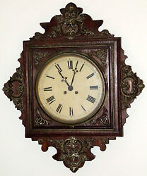 Antique Working 19th C. Japy Freres Victorian French Oak Regulator Wall Clock