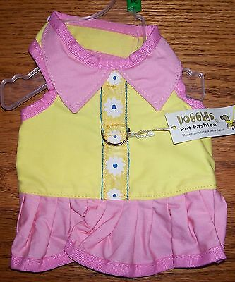 Doggles Size Teacup Pink And Yellow Harness Dress Dog < 2 Lbs Clothes