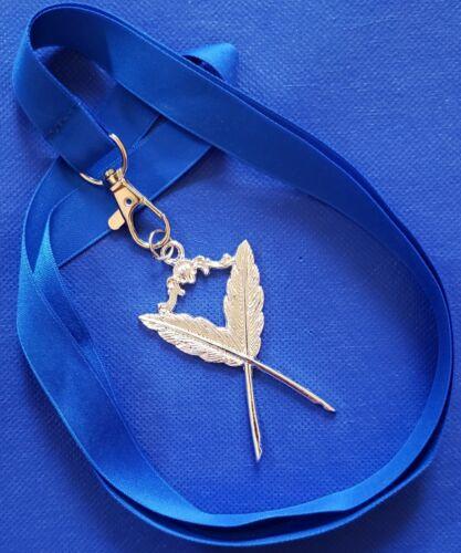 Masonic Collar SILVER Jewel SECRETARY with Blue NECK Strap by DEURA USA