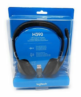 Logitech H390 Over-Head Comfort USB Headset w/ Noise-Canceling Microphone * NEW